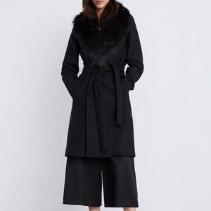 Zara faux fur trim coat